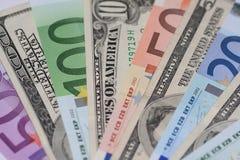 Euro and dollars Royalty Free Stock Photo