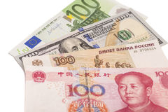 Euro,Dollars,Chinese yuan and the Russian rubles Royalty Free Stock Images