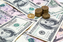 Euro dollars de rouble Image libre de droits