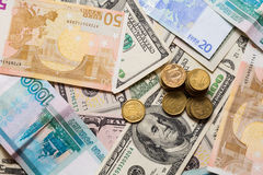 Euro dollars de rouble Images libres de droits