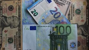 Euro and dollars. Money denominations of different countries and denominations are scattered on the table