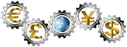 Euro Dollars Pound Yen Industrial Gears Stock Image