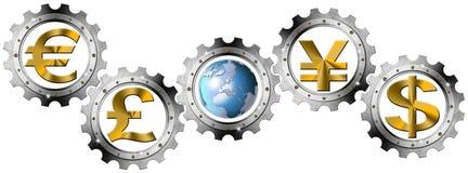 Euro Dollars Pound Yen Industrial Gears Stock Image