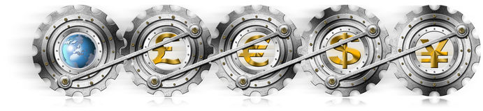 Euro Dollars Pound Yen Locomotive Gears Stock Images