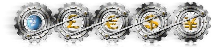 Euro Dollars Pound Yen Locomotive Gears Stock Images