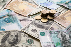 Euro dollars ruble Stock Images