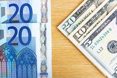Euro and dollars. Twenty euros and thirty-five u.s. dollars Royalty Free Stock Images