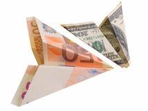 Euro dollarvliegtuig stock afbeelding
