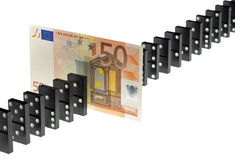 Euro and the dominoes Stock Photography