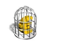 Euro dorati firmano dentro la gabbia d'argento, l'illustrazione 3D Immagini Stock