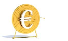 Euro dorato dell'obiettivo di tiro all'arco Immagine Stock Libera da Diritti