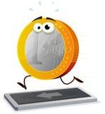 Euro dos desenhos animados que corre em uma escada rolante Foto de Stock Royalty Free