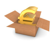 Euro dourado na caixa Imagens de Stock Royalty Free