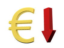 Euro down Stock Image