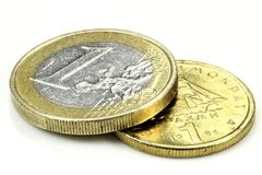Euro and Drachma Stock Photography