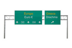 Euro-Drachma road sign. Europe-Greece and Euro-Drachma road sign Stock Photos