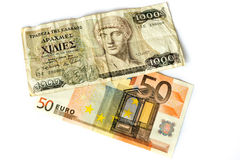 Euro and Drachmen Stock Photo