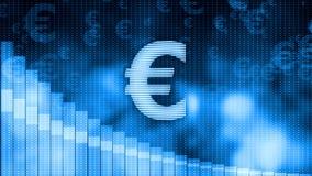 Euro dropping, descending graph background, world crisis, stock market crash. Stock footage Stock Photography