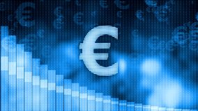 Euro dropping, descending graph background, world crisis, stock market crash Royalty Free Stock Photography