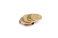 Euro due - 10 euro centesimi impilati Fotografie Stock