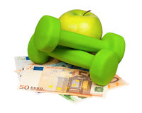 Euro and dumbbells Stock Images