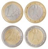 Euro 1 e 2 Imagem de Stock Royalty Free