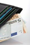 Euro e carteira Imagens de Stock