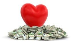 Euro e coração (trajeto de grampeamento incluído) Imagens de Stock