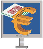Euro e crise de Greece Fotografia de Stock