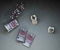 Euro e cubi di ghiaccio tagliuzzati Fotografie Stock Libere da Diritti