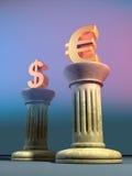 Euro e dólar ilustração stock