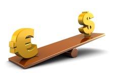 Euro e dólar Imagens de Stock