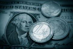 Euro e dólar Foto de Stock
