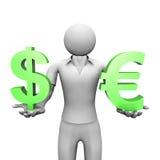 Euro e dólar Imagens de Stock Royalty Free