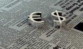 Euro e dólar no papel Imagens de Stock