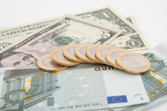 Euro e dólares Fotografia de Stock Royalty Free
