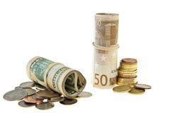 Euro e dólares Imagem de Stock
