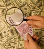 Euro e dólares Fotografia de Stock