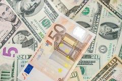 Euro e dólares Foto de Stock Royalty Free