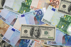 Euro e dólares da nota de banco Fotografia de Stock