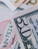 Euro e dollari Fotografia Stock