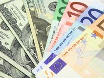Euro e dollari Fotografie Stock