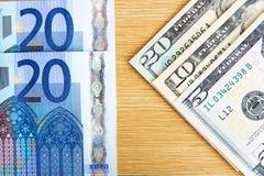 Euro e dollari Immagini Stock Libere da Diritti