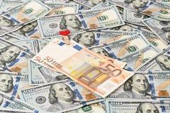 Euro e dollari come fondo Fotografia Stock