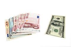 Euro e dollari di soldi Fotografie Stock Libere da Diritti
