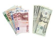 Euro e dollari isolati Fotografia Stock