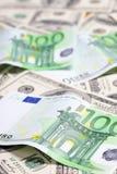 Euro e dollaro Fotografie Stock
