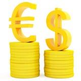 Euro e dollaro Fotografia Stock Libera da Diritti