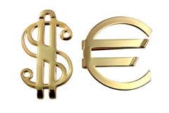 Euro e dollaro metallici del segno Fotografia Stock