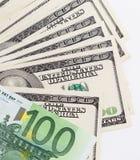 Euro e dollaro su un fondo bianco Fotografie Stock Libere da Diritti